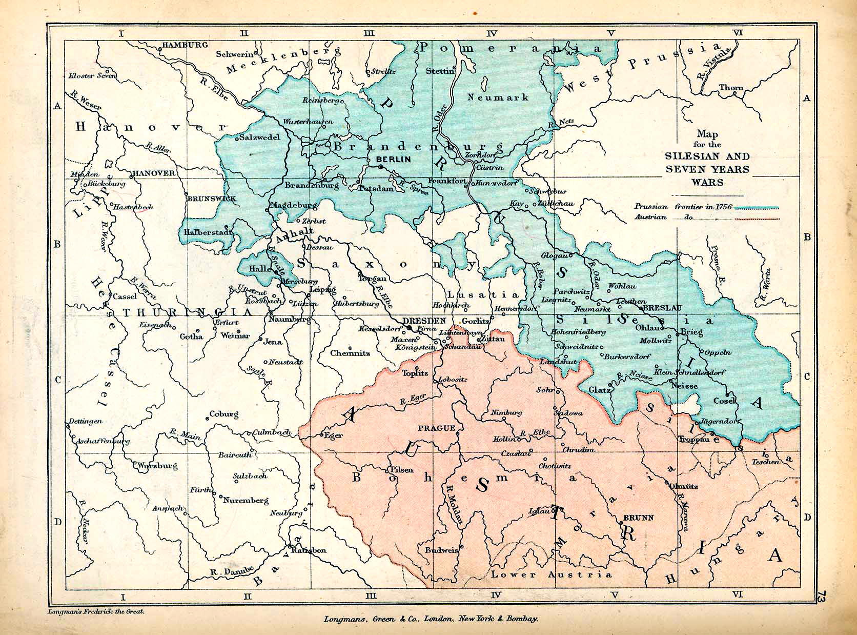 Map of the Silesian Wars and the Seven Years' War