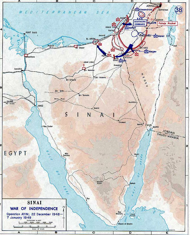 Map of the Sinai Peninsula 1948/49