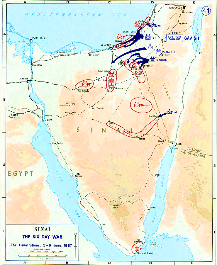 Map of the Sinai Peninsula 1967