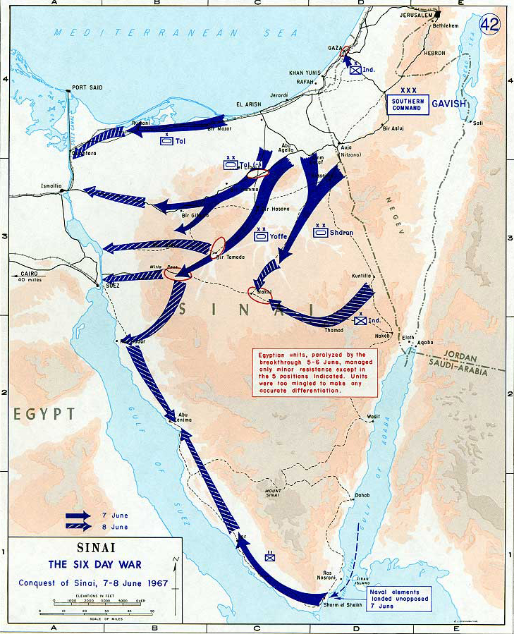 Map of the Sinai Peninsula Conquest 1967