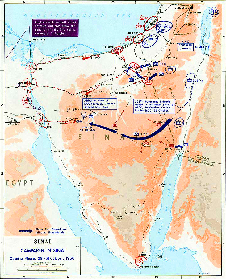 Map of the Sinai Peninsula Oct 1956