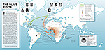 World Map 1400-1900 Slave Trade: Raiding Zones, Deportees