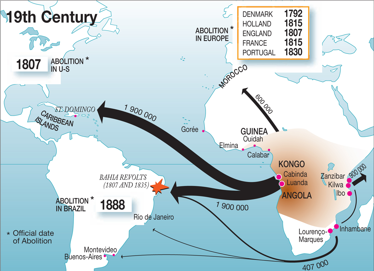 World Map: Slave Trade and Abolition 1800-1900