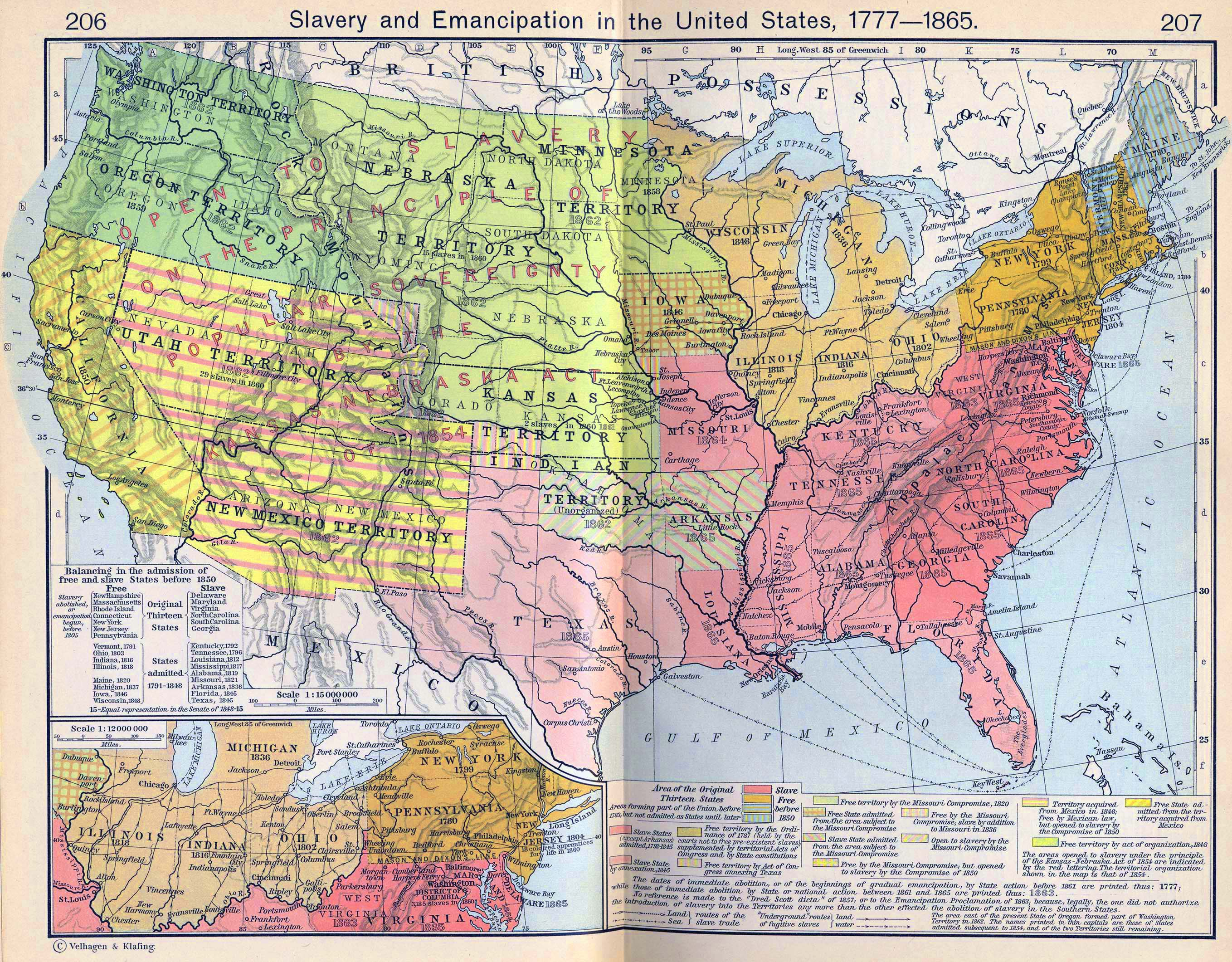 map of the united states 1777 1865 slavery and emantion