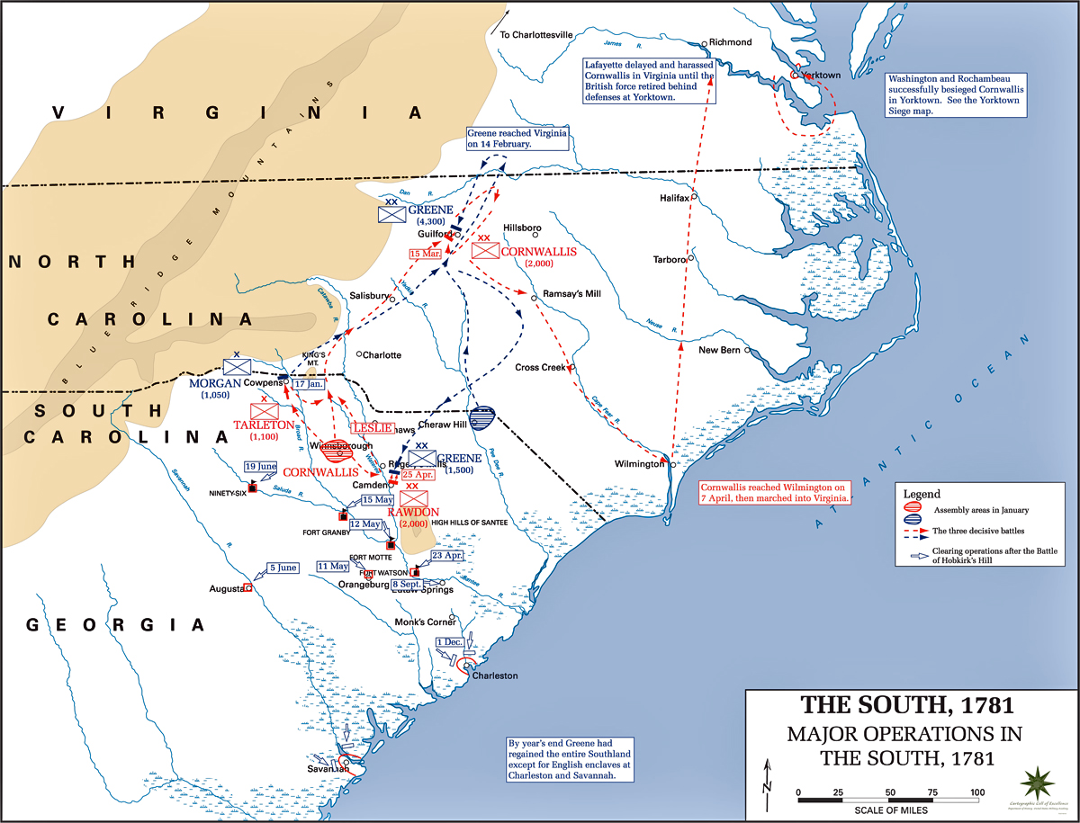 Map Of The Operations In The South - Map of us 1781