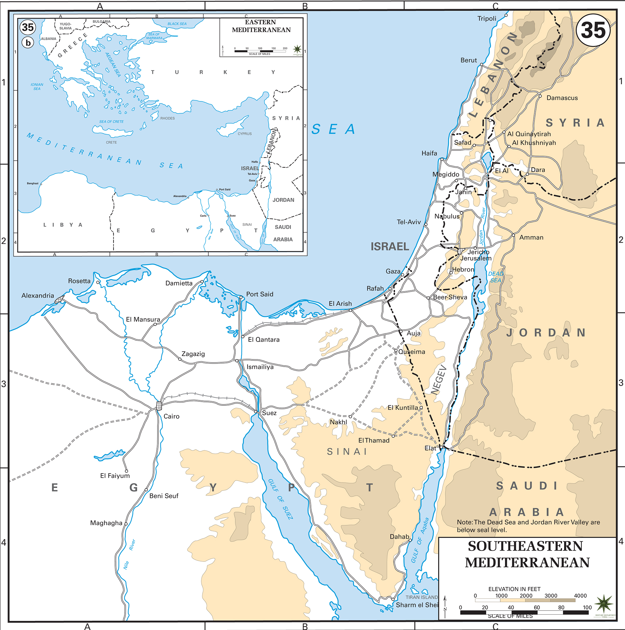 Map Of The Southeastern Mediterranean Countries - Map of egypt elevation