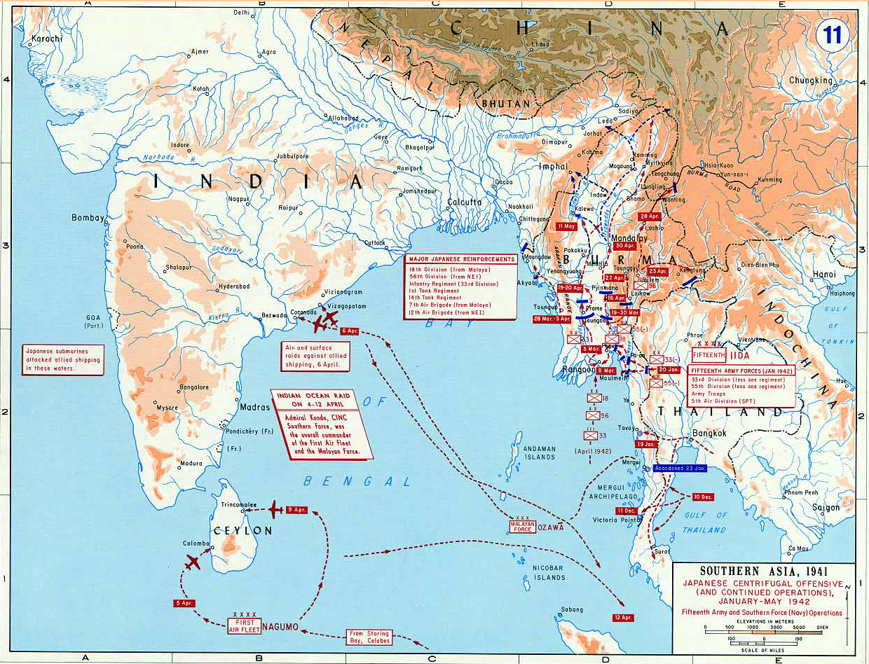 Map of wwii southern asia 1942 map of world war ii southern asia japanese centrifugal offensive january may 1942 gumiabroncs Image collections