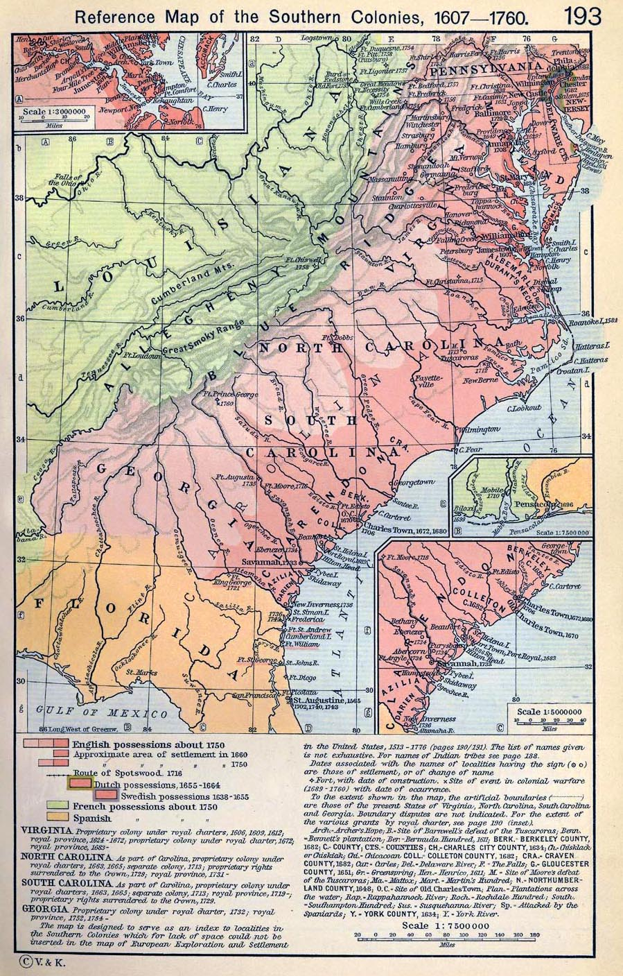 Reference Map of the Southern Colonies, 1607-1760. Insets: Settlements on the James River. The Georgian Coast.