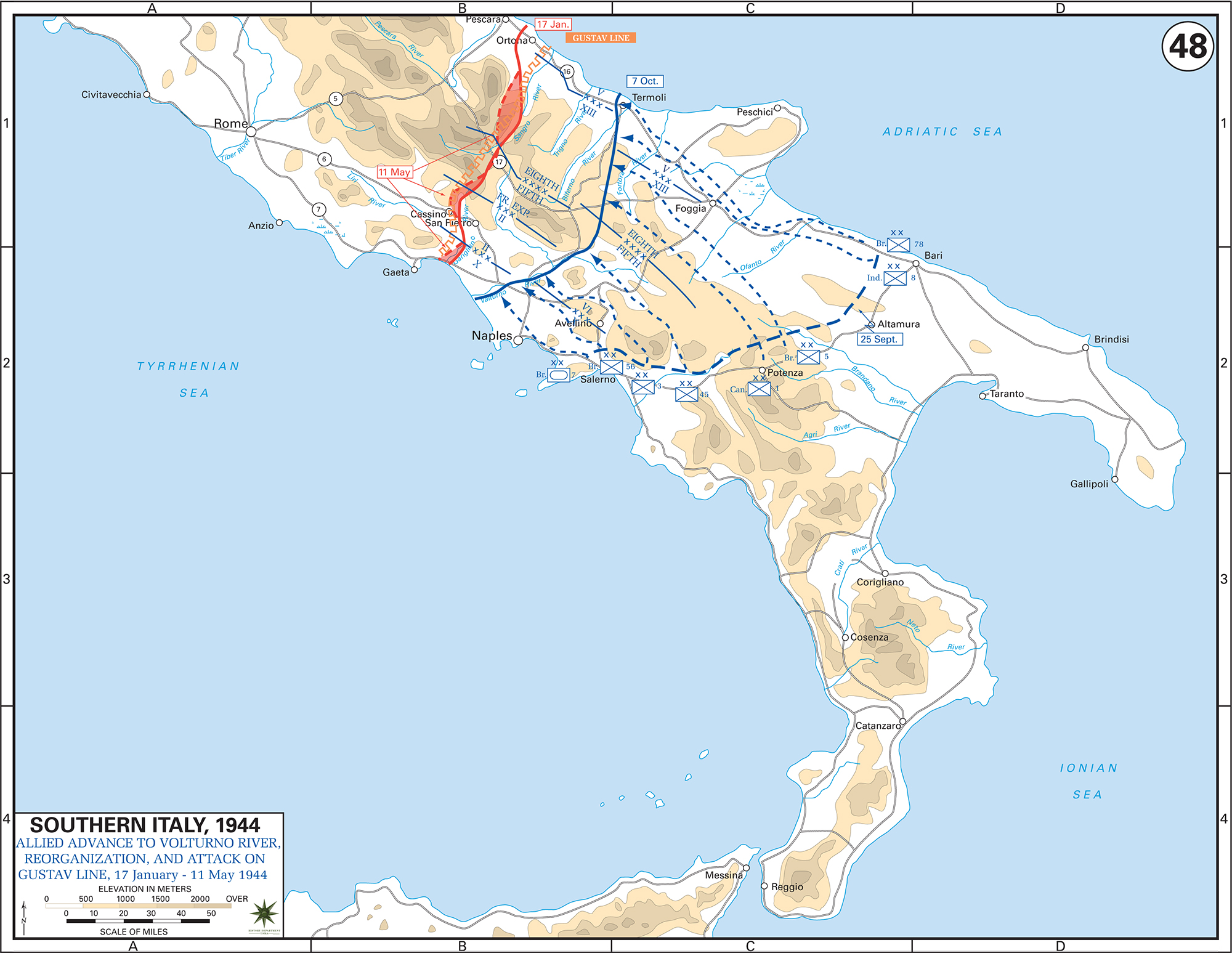 Map of WWII Southern Italy, January 17 - May 11, 1944