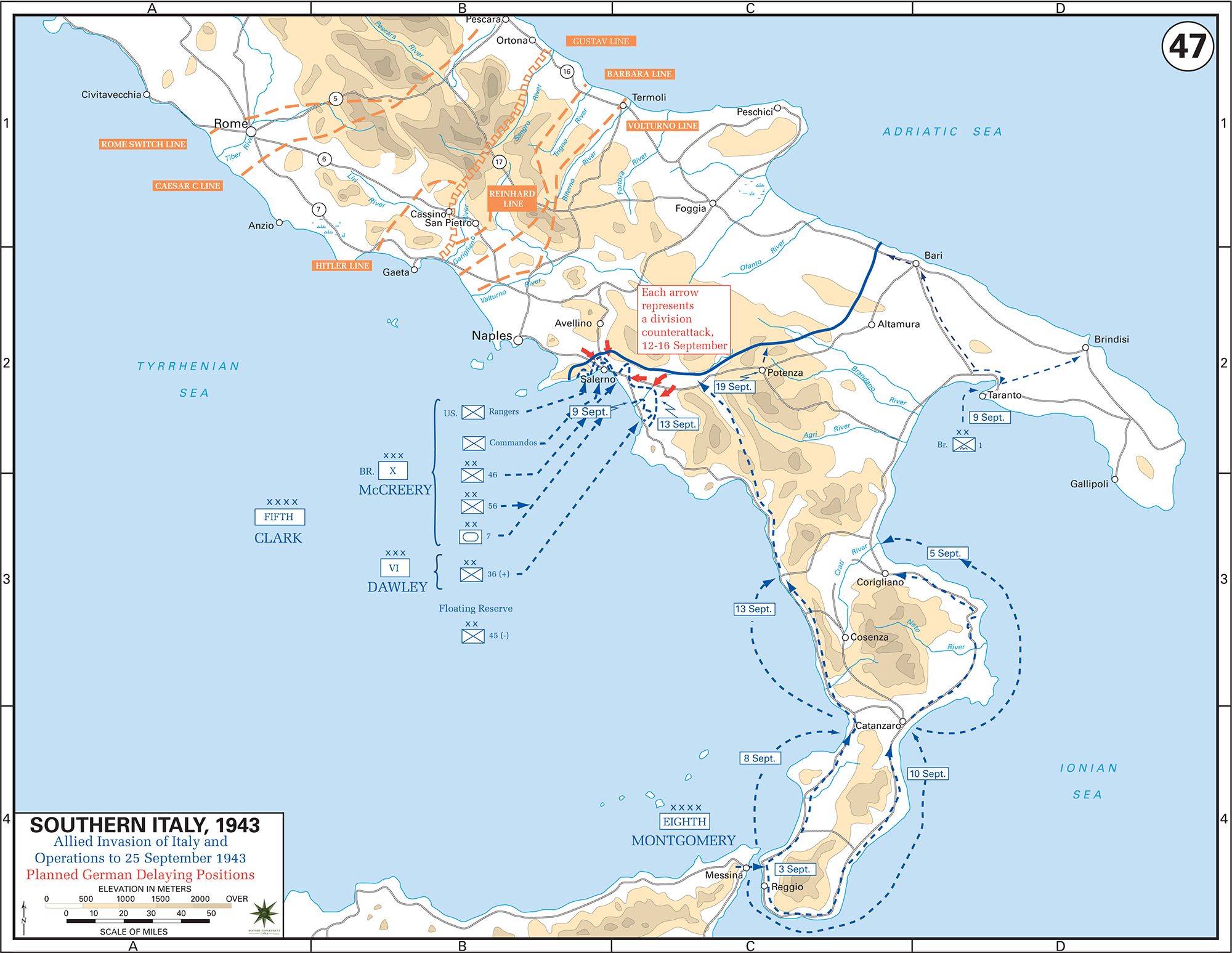 Map of southern italy september 1943 wwii italy september 1943 allied invasion planned german delaying positions gumiabroncs Gallery
