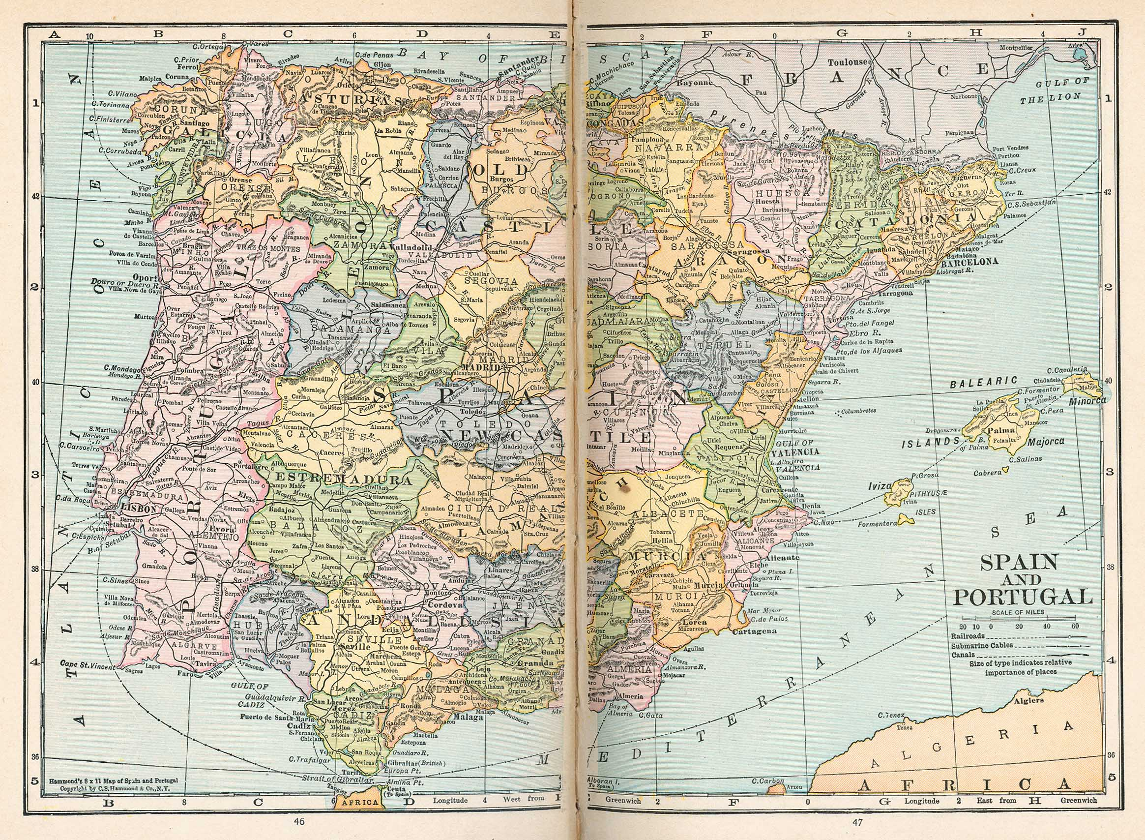 Map of Portugal and Spain, 1921