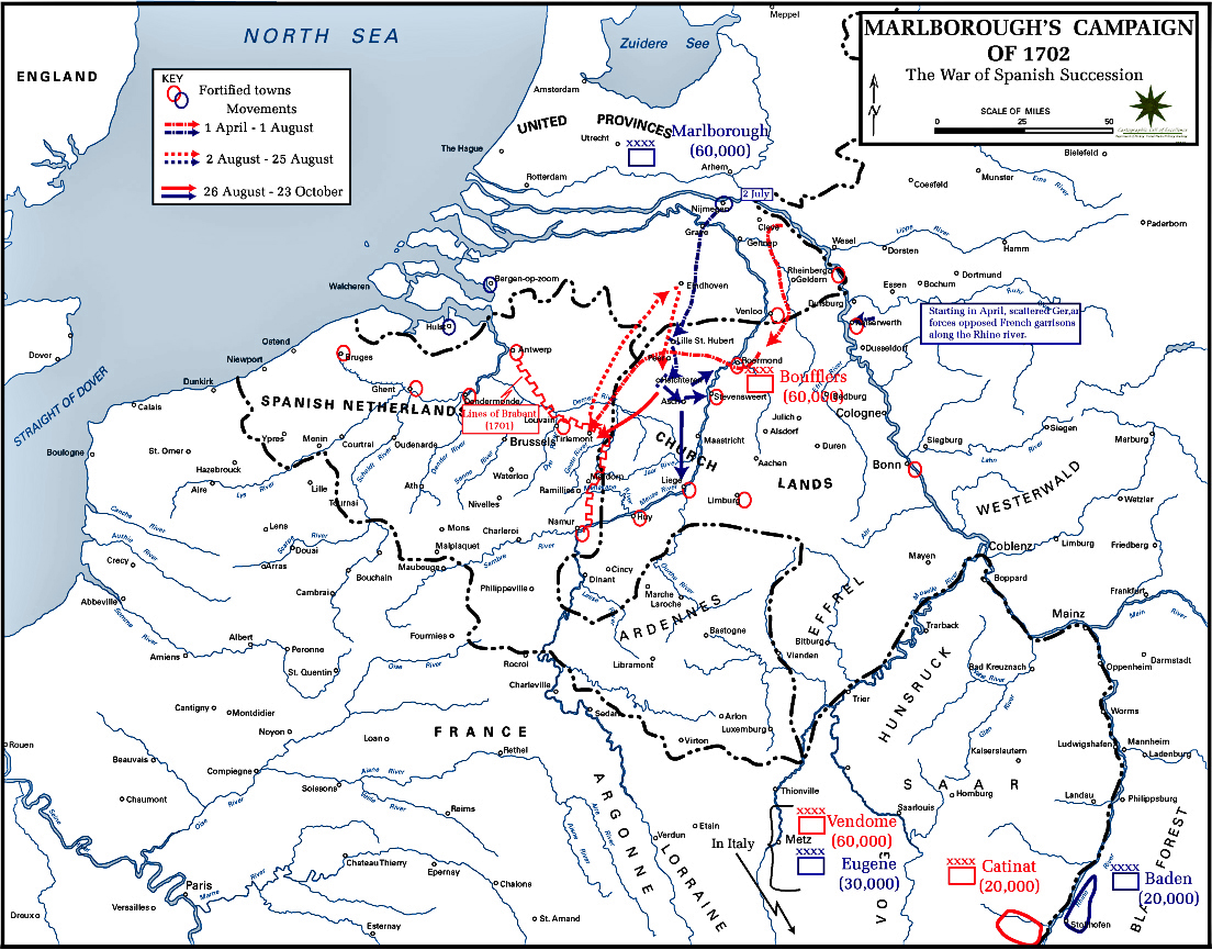 Map of the War of the Spanish Succession: Marlborough 1702