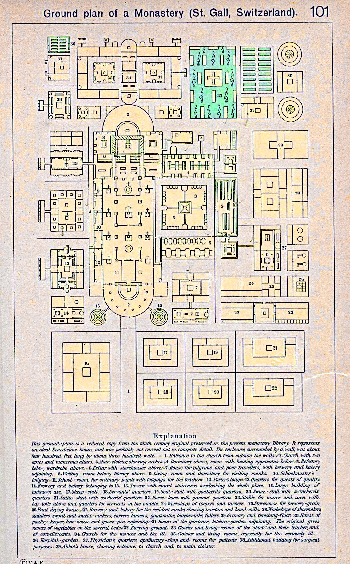 Map of the Ground Plan of St. Gall Monastery, Switzerland; ca. 819-826 A.D.