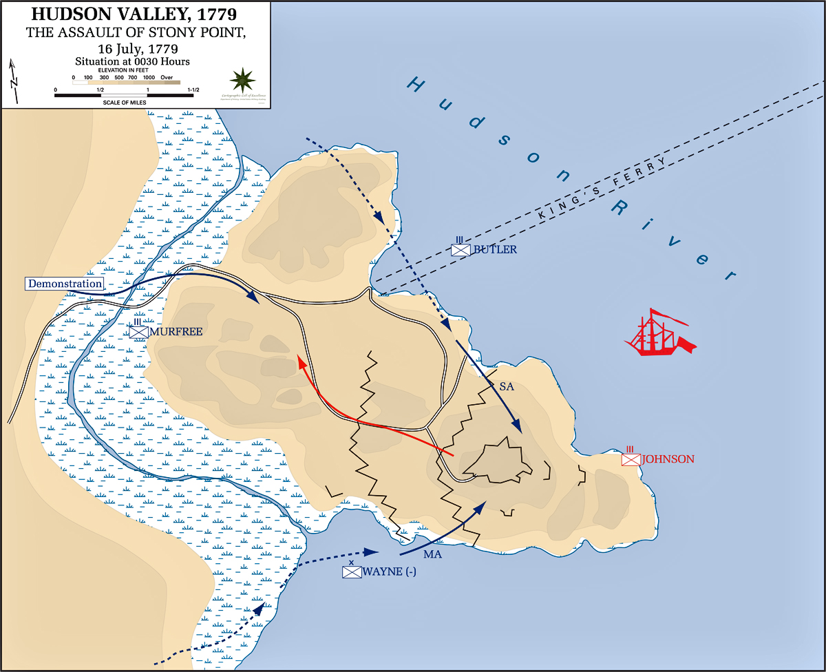 Map of the Battle of Stony Point: Attack - July 16, 1779