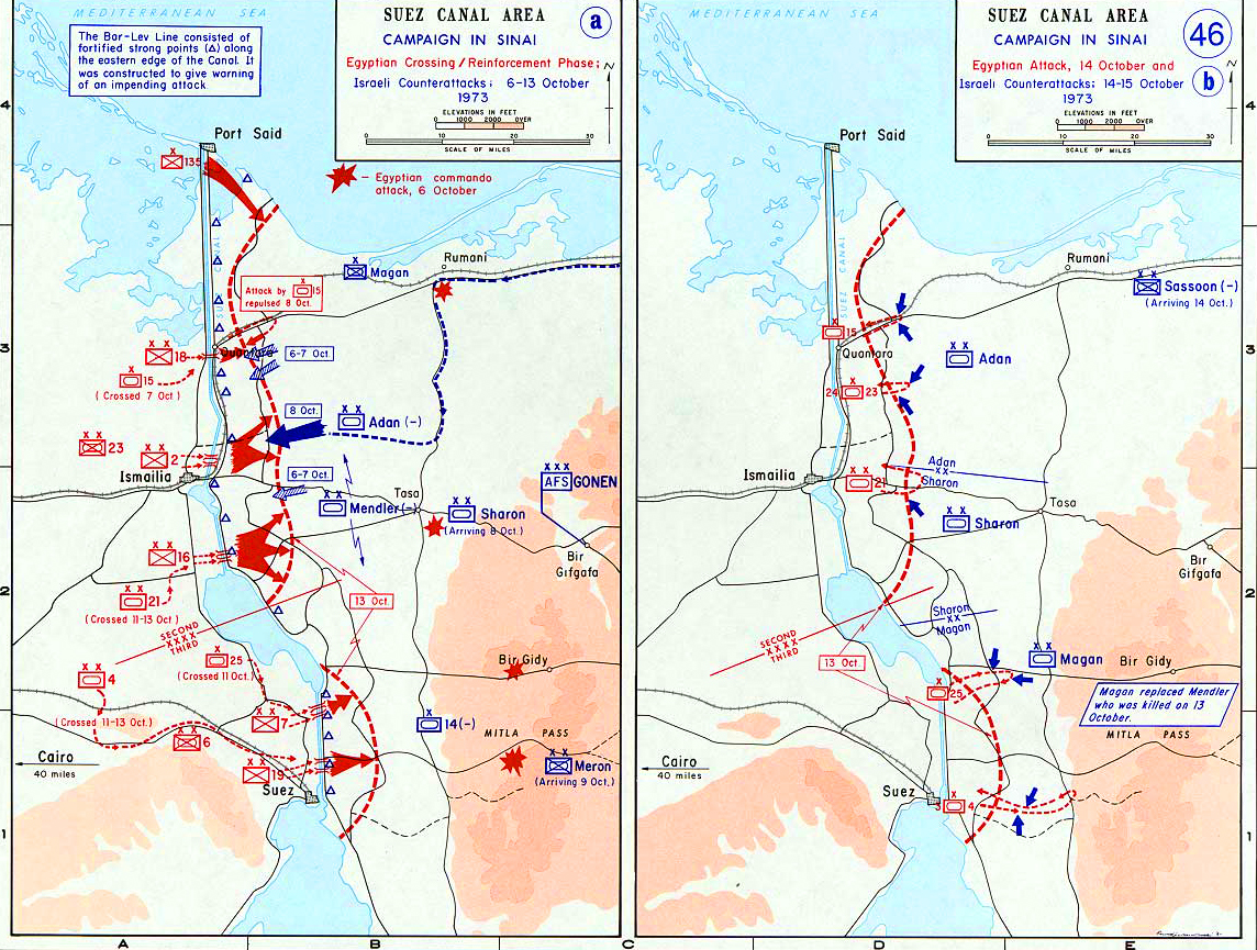Map of the suez canal area october 1973 history map of the suez canal area campaign in sinai egyptian crossing and attack gumiabroncs Image collections