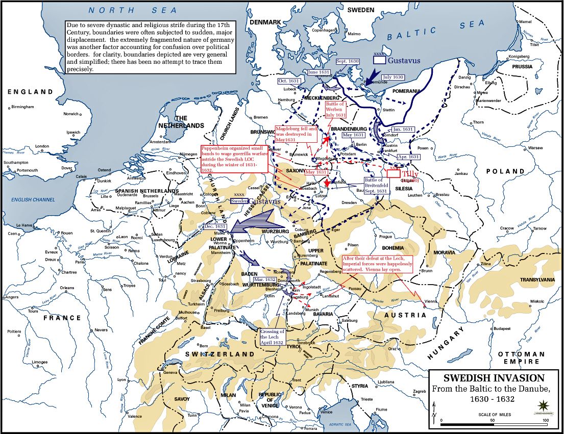Map of the Thirty Years War: Swedish Invasion 1630
