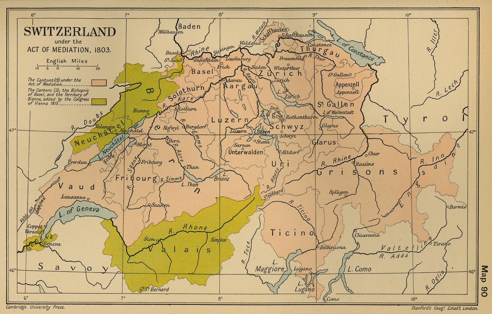 Map of Switzerland in 1803 The Mediation Act