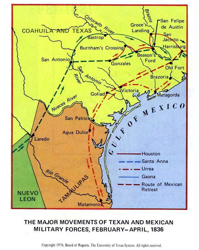 Map Of Texas 1836.Map Of The Texas Revolution 1835 1836
