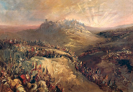 Los cruzados ante Jerusal�n / The Crusaders Before Jerusalem. Oil on canvas by Eugenio Lucas Vel�zquez