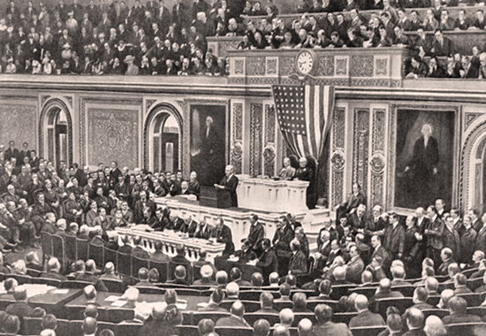 WOODROW WILSON ADDRESSING CONGRESS WITH HIS 14 POINTS SPEECH