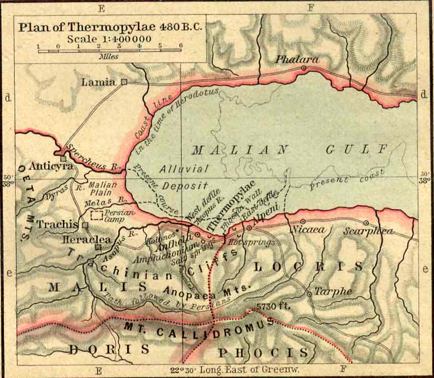 Map of Thermopylae 480 BC