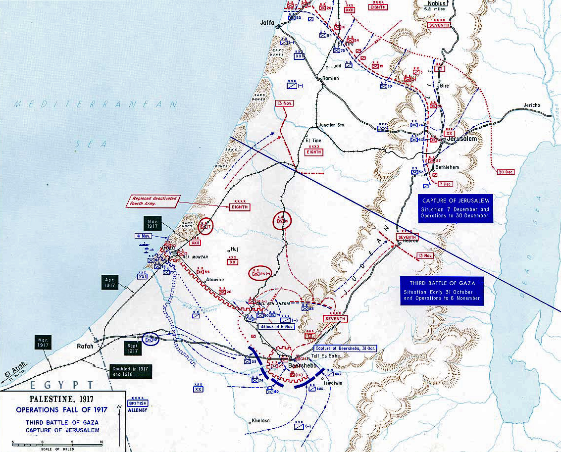 Map of the Third Battle of Gaza - Oct 31-Nov 7, 1917