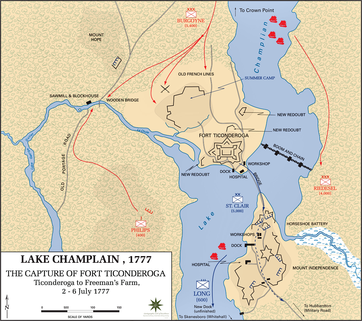 Of The Battle Of Ticonderoga July - Battle of saratoga us maps