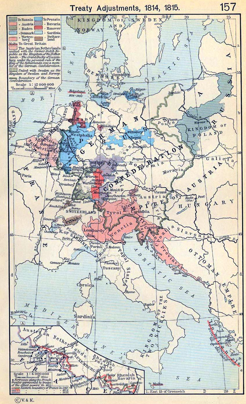 Map of Central Europe Treaties 1814 and 1815