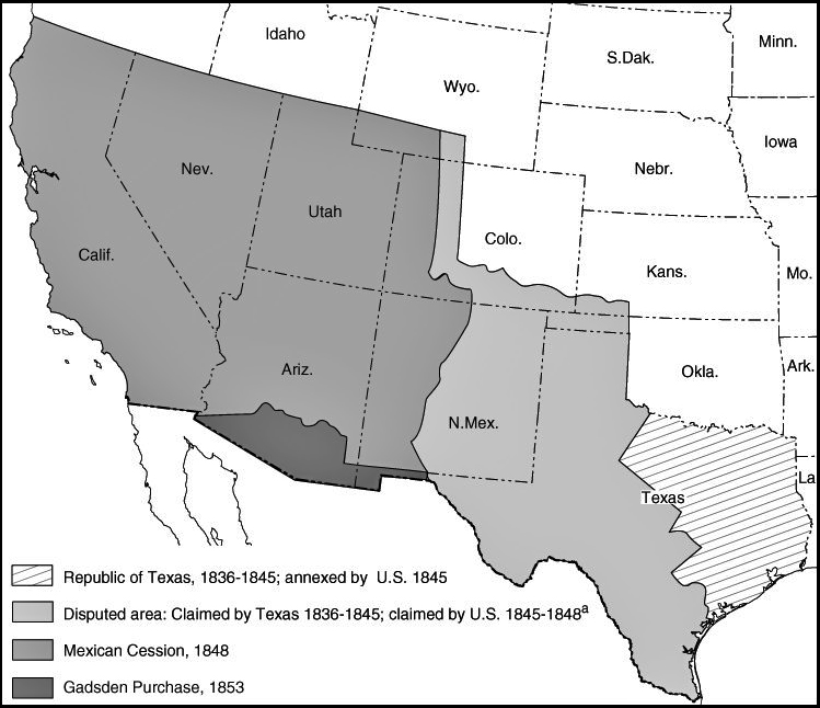 Map Of Texas 1836.Map Of The United States Expansion 1836 1853