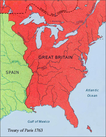 Image result for treaty of paris 1763 boundaries map