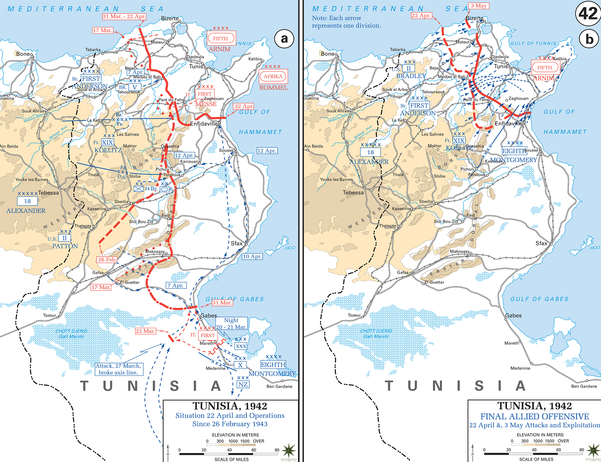 Map of WWII Tunisia 1943 Final Offensive