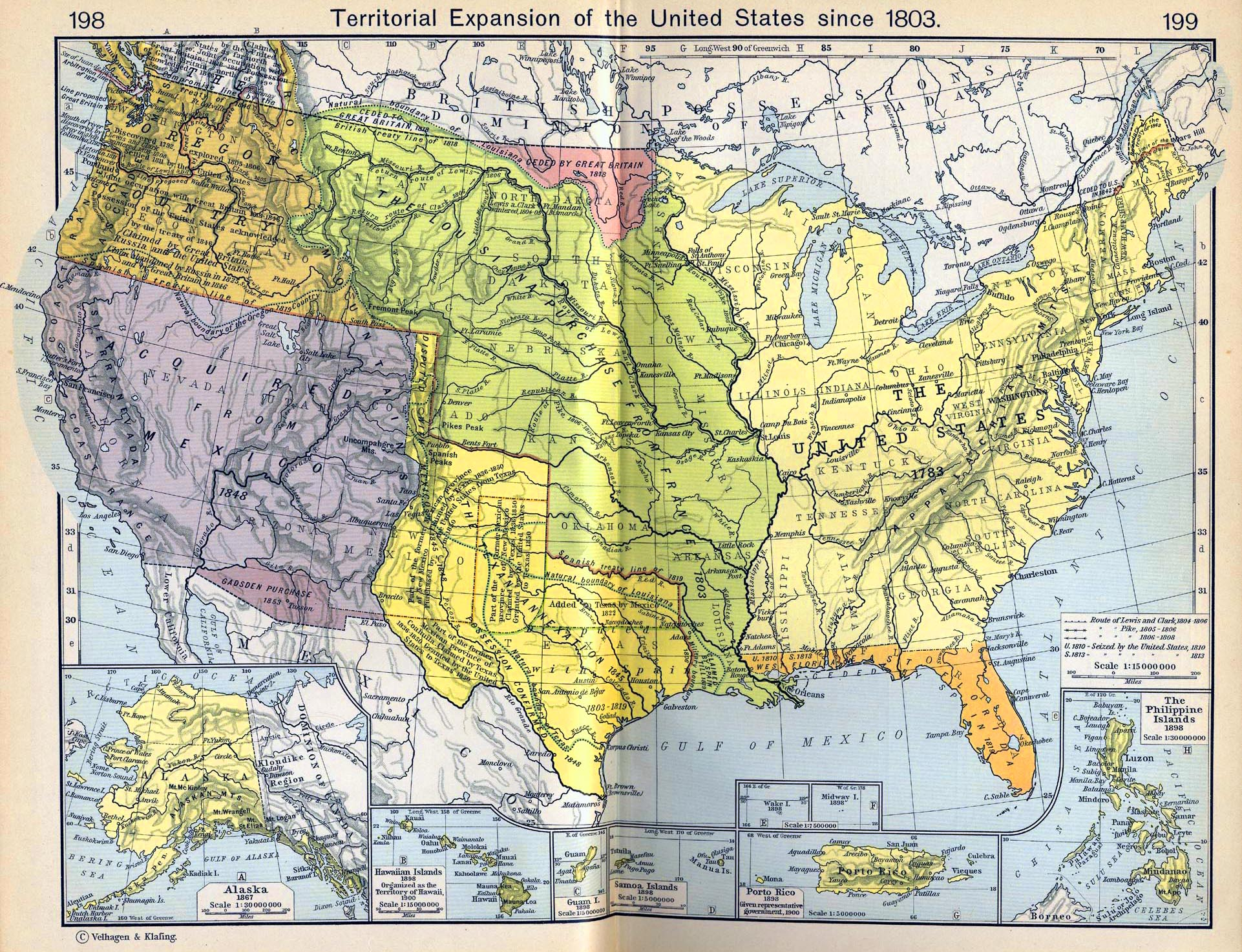 Map Of The Territorial Expansion Of The United States Since 1803 Insets Alaska
