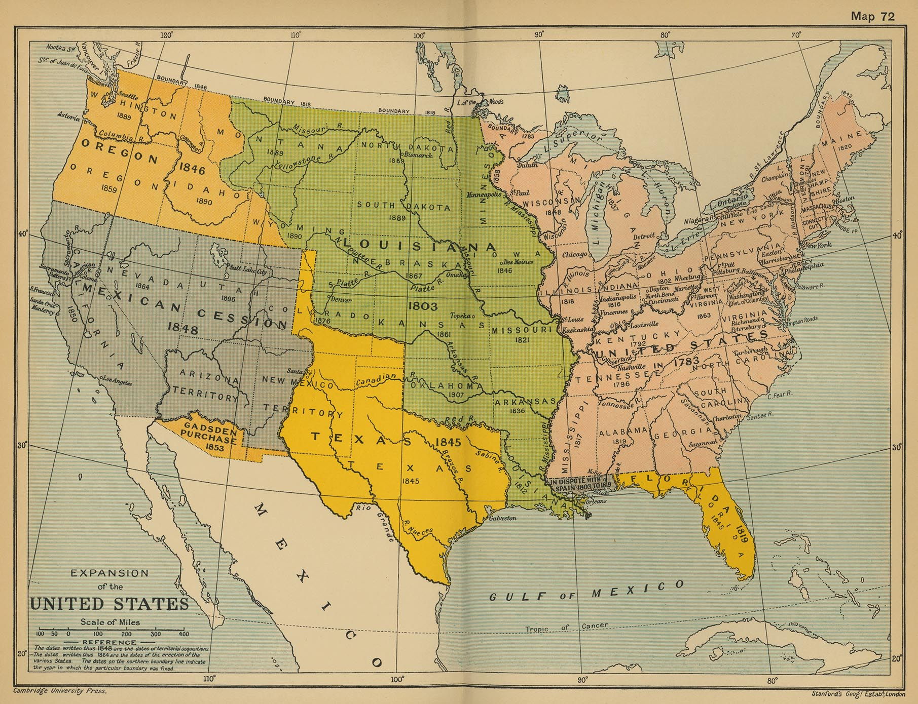 Historical map of the expansion of the united states 1783 1907