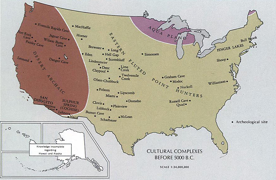 Map of the united states before 5000 bc map of todays united states cultural complexes before 5000 bc gumiabroncs Gallery