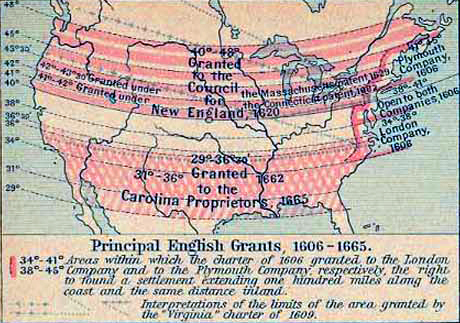 Map of the United States Principal English Grants, 1606-1665