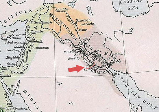 Map Location of Uruk in Ancient Sumer / Ancient Mesopotamia