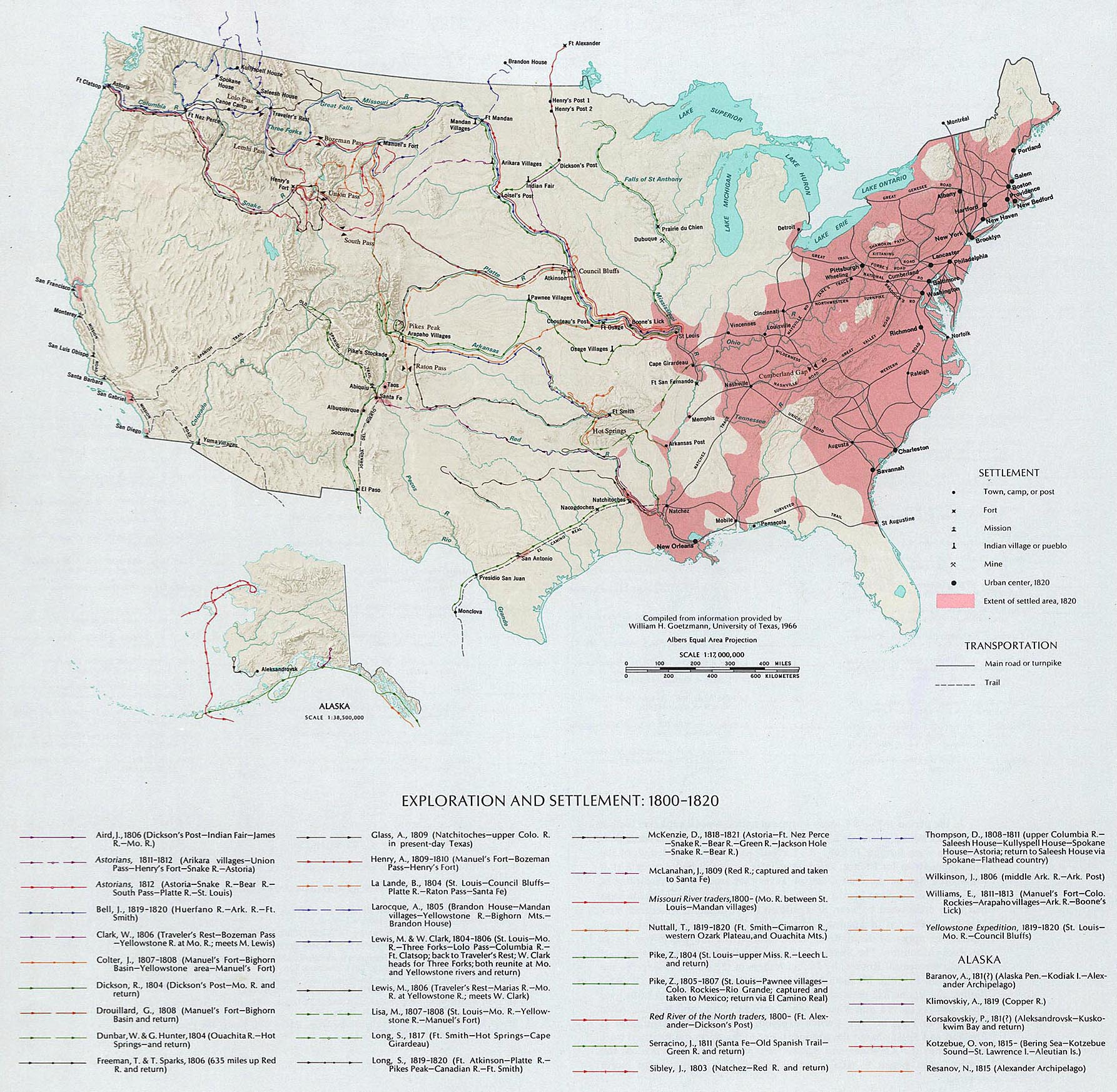 Map Of The United States Exploration And Settlement 1800 1820