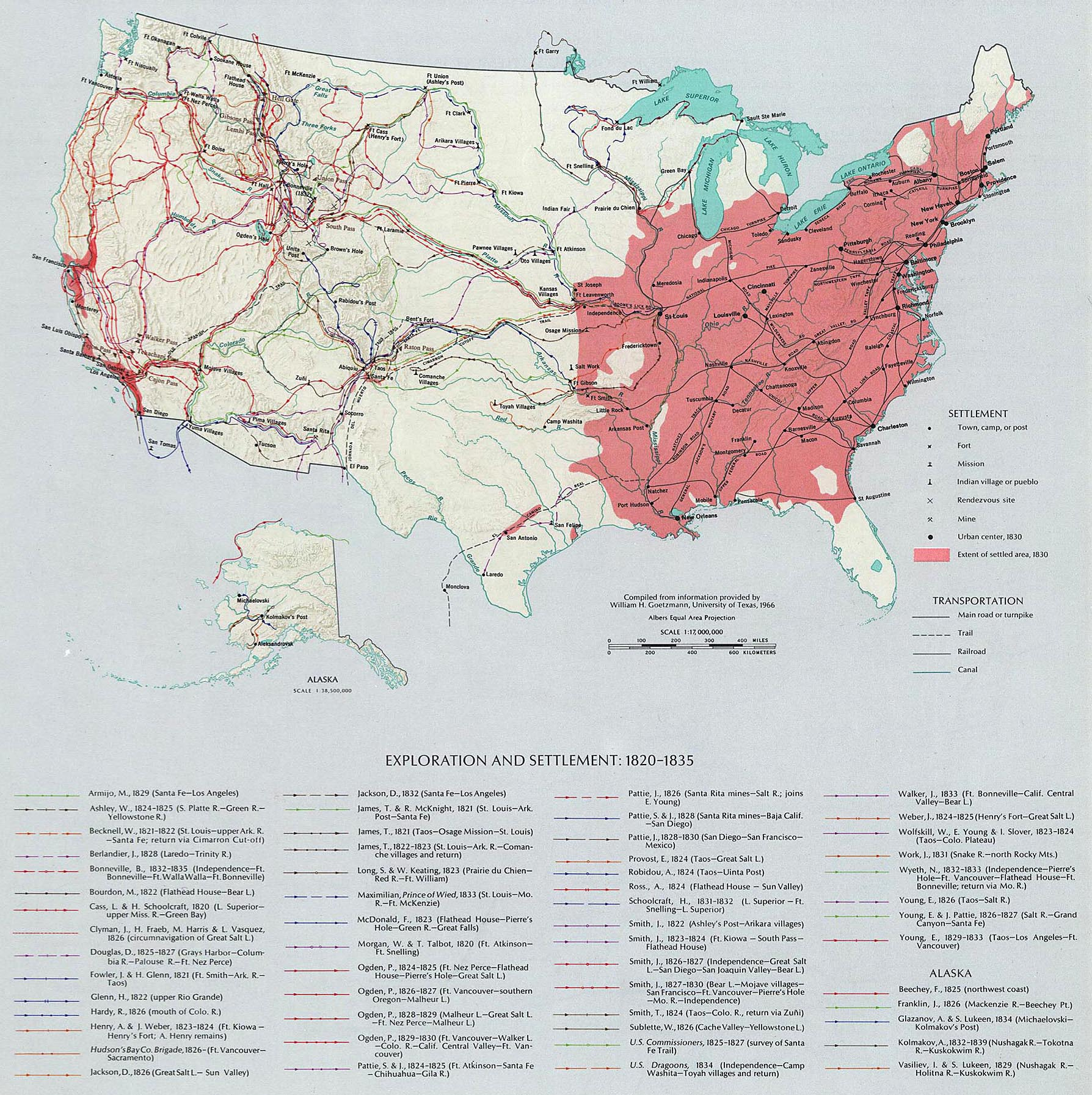 Map Of The United States Exploration And Settlement 1820 1835
