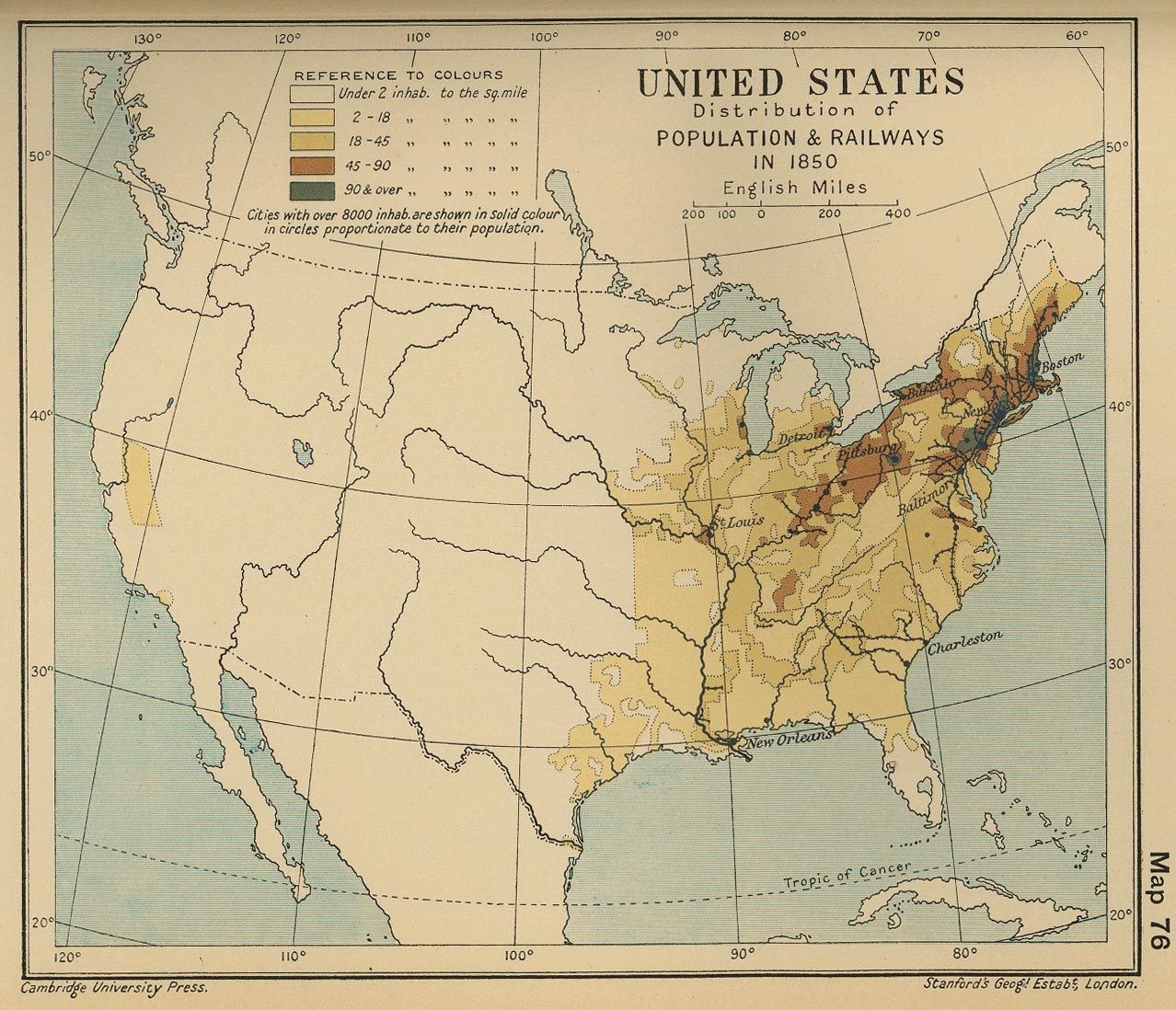 Of The United States Population - 1850 map of us