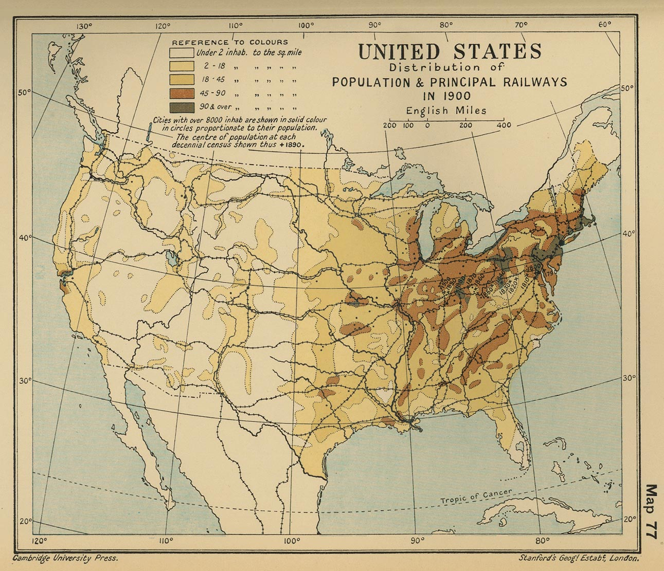 Map Of America 1900.Map Of The United States Population 1900