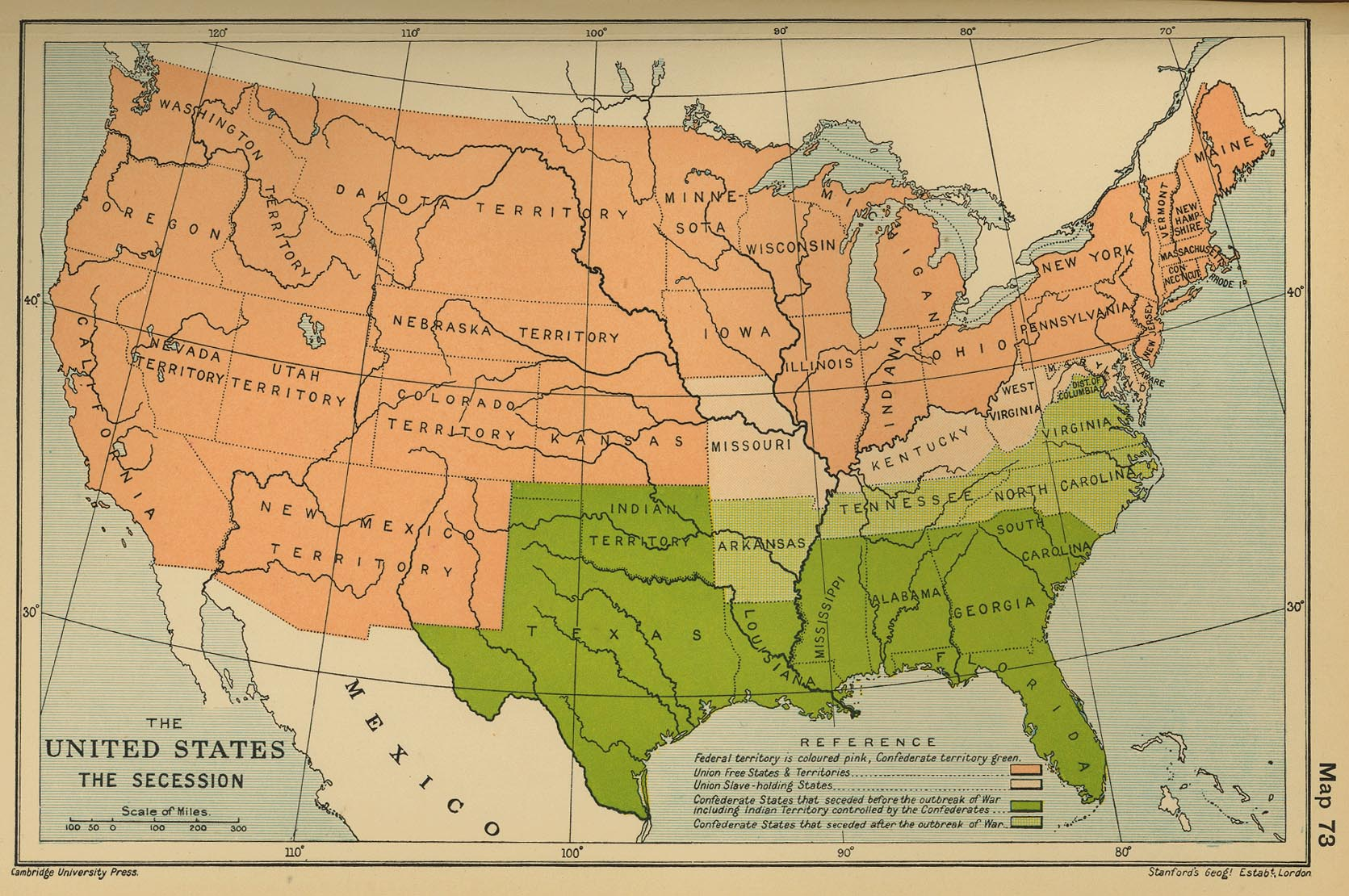 Map Of The United States The Secession 1860
