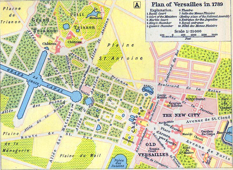 Map of Versailles in 1789