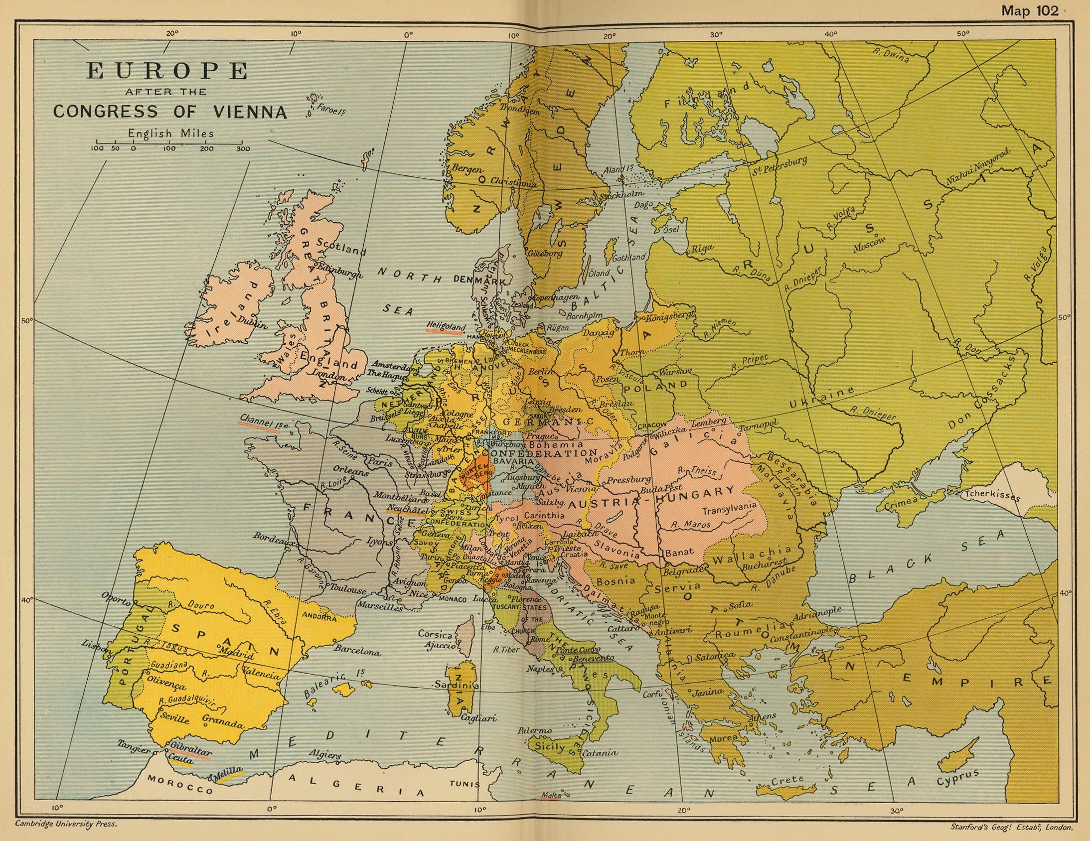 Map of Europe after the Congress of Vienna 1815