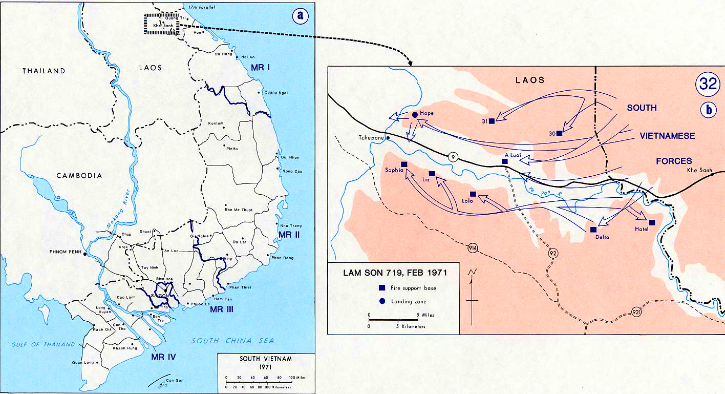 History Map of the Vietnam War. South Vietnam, Lam Son 719, February 1971.