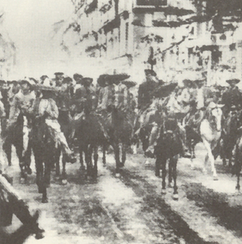 Emiliano Zapata and Pancho Villa are leading their troops into Mexico City