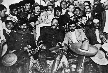 PANCHO VILLA AND EMILIANO ZAPATA DECEMBER 6, 1914 AT THE PRESIDENTIAL PALACE IN MEXICO CITY