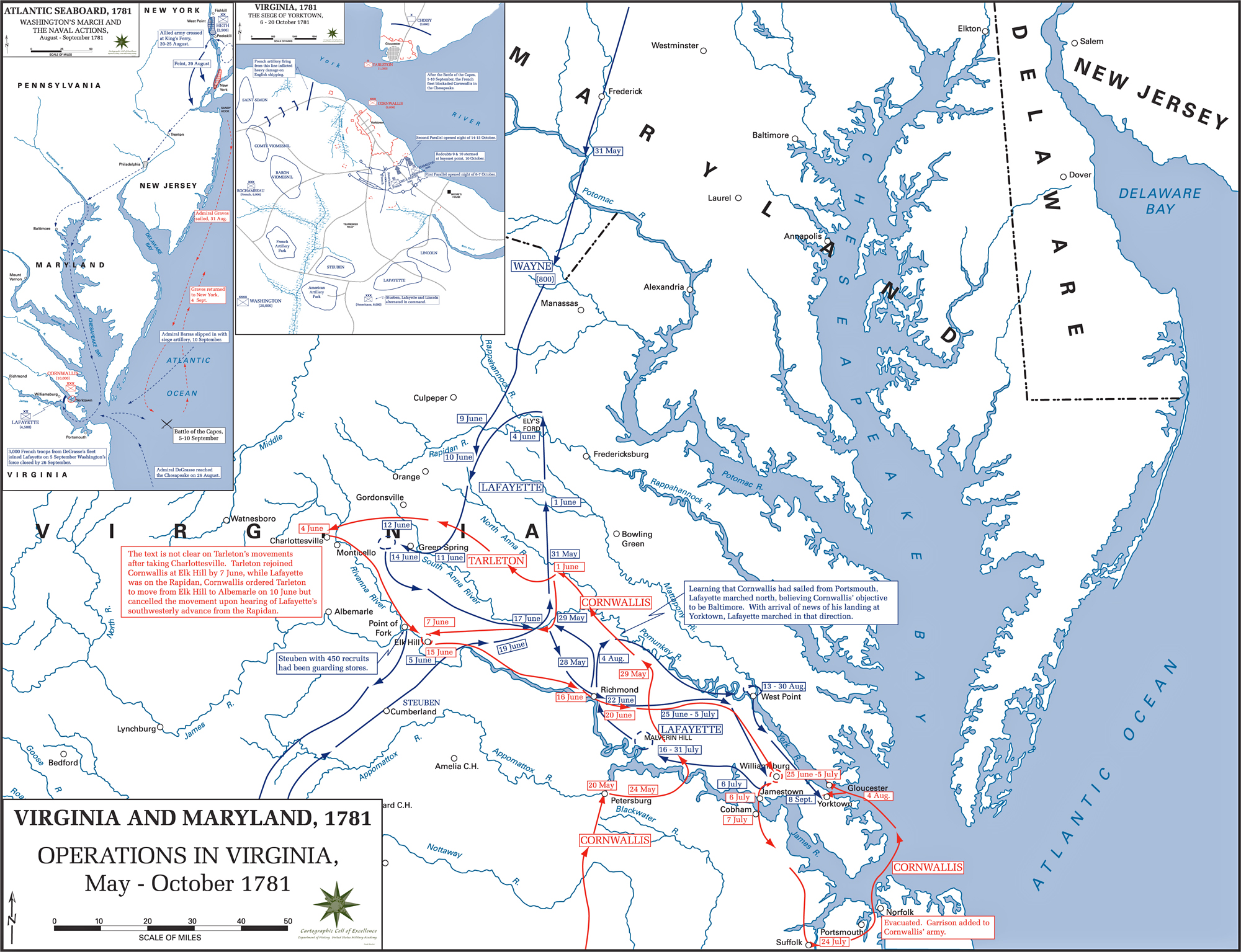 Map of the operations in virginia 1781 Vibeline