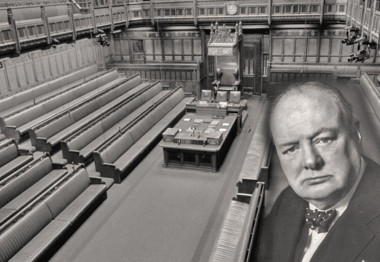 WINSTON CHURCHILL SPEAKS TO THE HOUSE OF COMMONS, LONDON, UK