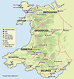 Map of Wales, Roman Britain, AD 47