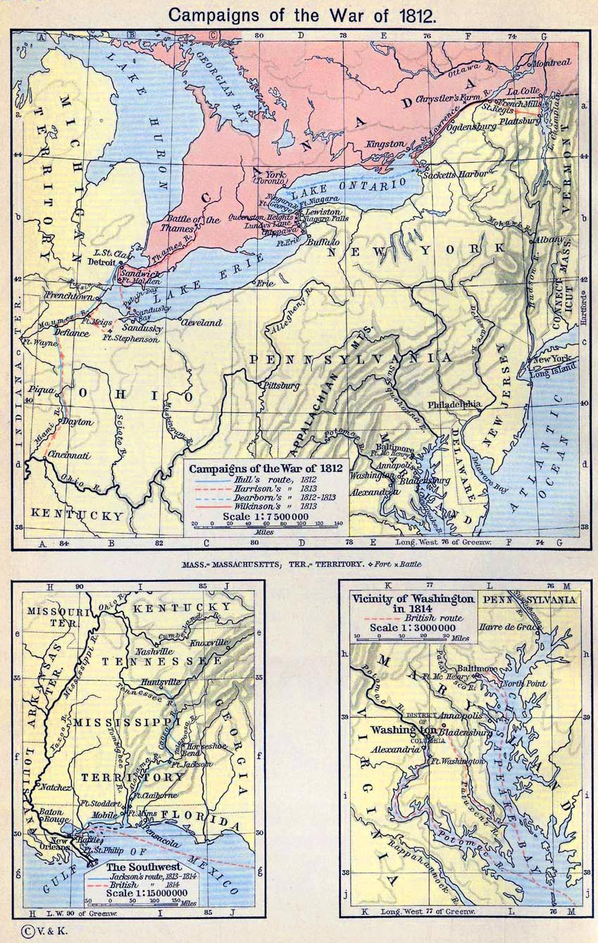 Map of the Campaigns of the War of 1812. The Southwest. Vicinity of Washington in 1814.